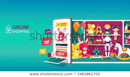 online shopping   modern colorful isometric vector illustration stock photo © decorwithme