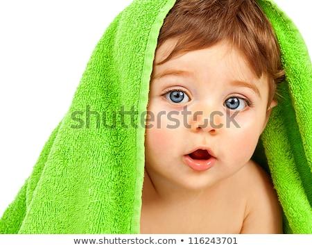 Foto stock: Cute · bebé · nino · cubierto · toalla · aislado