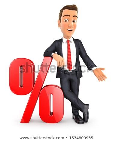 o · homem · 3d · percentagem · assinar · 3d · render · homem · lupa - foto stock © 3dmask