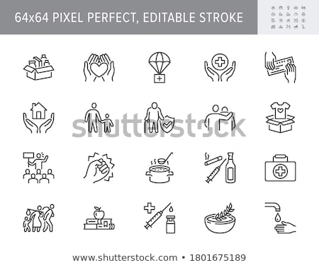 Stock photo: Elderly care flat vector illustrations set
