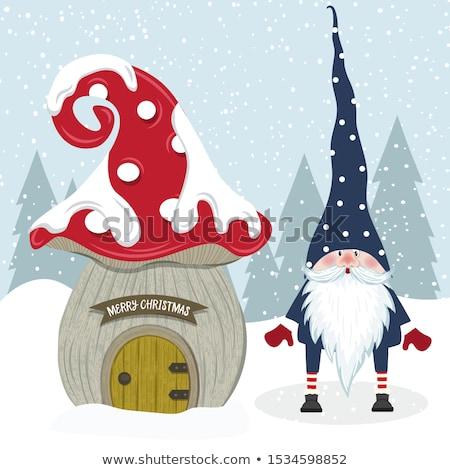 Cute Christmas gnome and her mushroom house. Flat design. Stock photo © balasoiu
