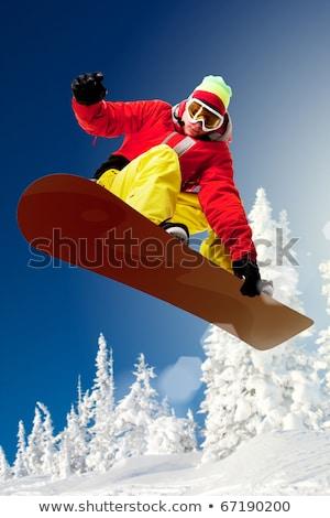 Férfi snowboard tél erdő hobbi férfi Stock fotó © robuart