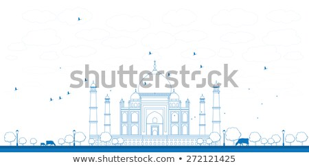 Outline Taj Mahal with Tree and cow. Front view Stock photo © ShustrikS