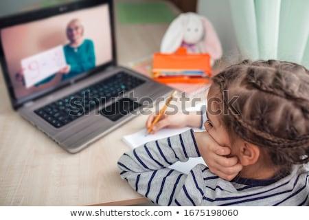 Online távolság oktatás otthon vizsga izometrikus Stock fotó © -TAlex-