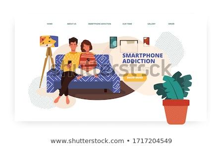Képernyő függőség leszállás oldal pici üzletemberek Stock fotó © RAStudio