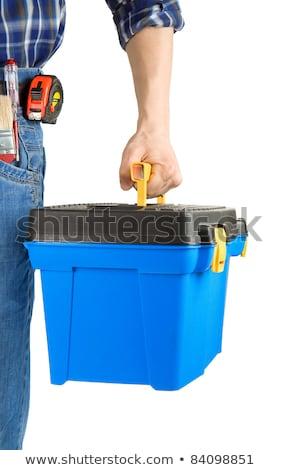 Mann halten Tasche Ausrüstung Foto glücklich Stock foto © deandrobot