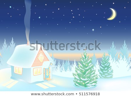 house on hill at night with moon eps 8 stock photo © beholdereye