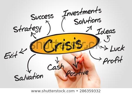 Crisis stroomschema Rood fiche geschreven Stockfoto © ivelin