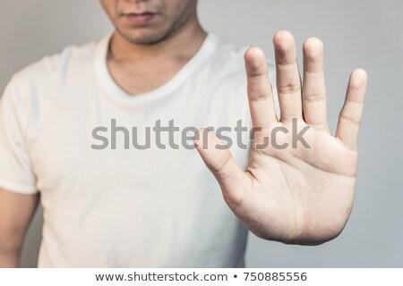homem · meio · dedo · caucasiano · tatuagens - foto stock © lisafx
