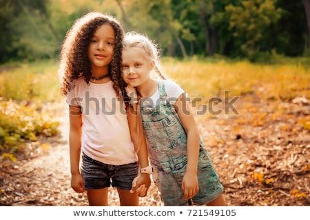 Blond meisje zwarte sterke contrast Stockfoto © carlodapino