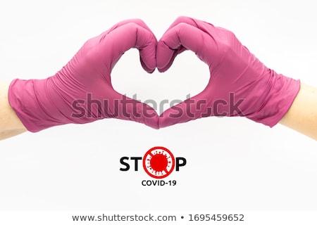 рук · резиновые · перчатки · очистки · спрей · изолированный - Сток-фото © winterling
