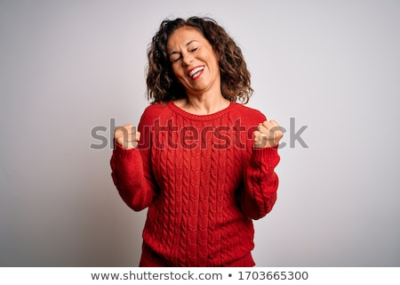 gelukkig · vrouw · schreeuwen · vieren · overwinning · armen - stockfoto © pablocalvog