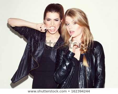 Beautiful girl in black leather jacket Stock photo © grafvision