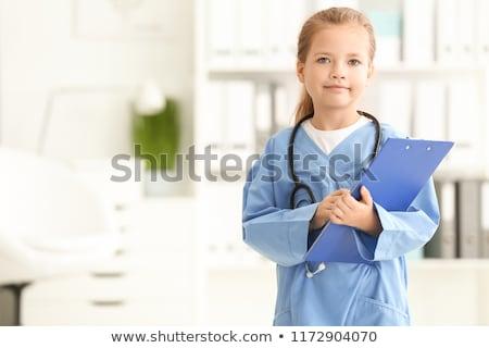 sevimli · küçük · kız · doktor · stetoskop · beyaz · mutlu - stok fotoğraf © lunamarina