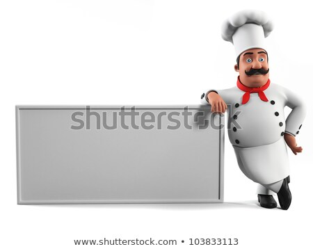 3d chef with blank menu board stock photo © kirill_m