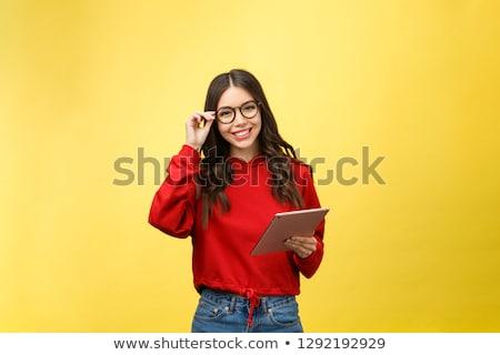 diák · tini · nő · érintőképernyő · táblagép · fotel - stock fotó © maros_b