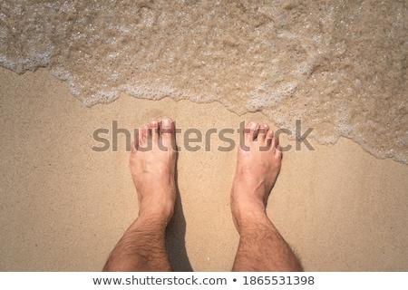 следов люди песок пляж счастливым ходьбе Сток-фото © meinzahn