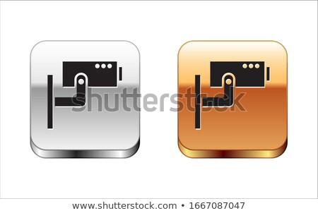 Foto stock: Cctv · signo · dorado · vector · icono · botón