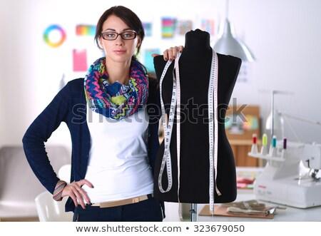 моде дизайнера Постоянный манекен улыбаясь серый Сток-фото © deandrobot