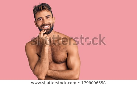 yandan · görünüş · mutlu · gündelik · adam · eller · gülümseme - stok fotoğraf © deandrobot