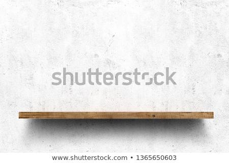 empty wooden shelf stock photo © timurock