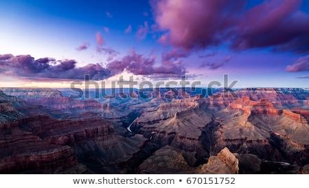 ストックフォト: 峡谷 · ポイント · 日没 · 光 · 雲 · 山