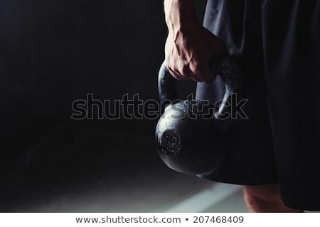 スポーツマン · ケトルベル · ショット · アスレチック · 筋肉 - ストックフォト © lightfieldstudios
