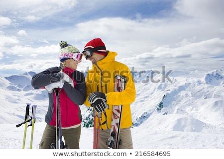 érett férfi tart égbolt férfi természet tél Stock fotó © IS2