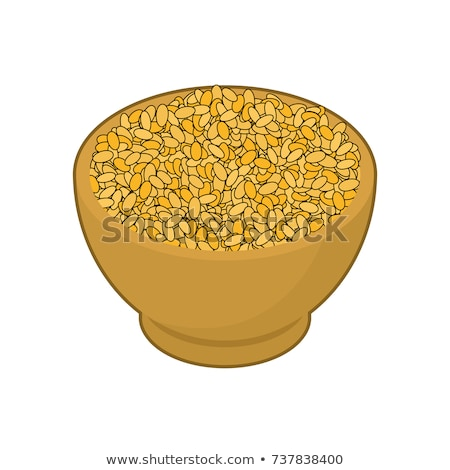 Bulgur in wooden bowl isolated. Groats in wood dish. Grain on wh Stock photo © MaryValery