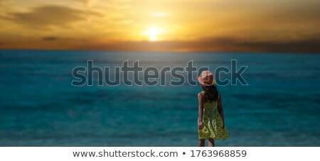 Csinos lány áll óceán szexi nő pontozott Stock fotó © alexanderandariadna