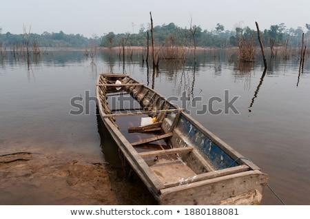Eski sel tekne yaz göl kıyı Stok fotoğraf © wildman