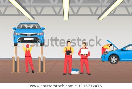 Automático serviço espaçoso garagem vetor bandeira Foto stock © robuart