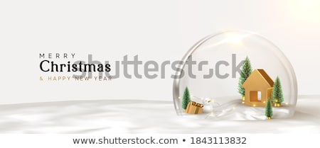 snow globe ball realistic new year chrismas object isolated on transperent background with shadow, v Stock photo © olehsvetiukha