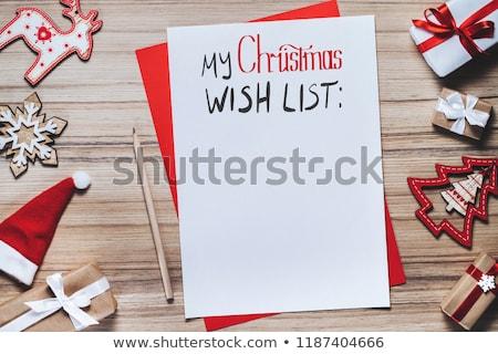 Darab papír karácsony kívánságok kávéscsésze muffinok Stock fotó © karandaev