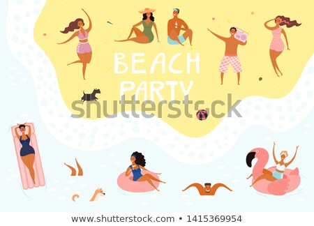Pool Party Couple Poster Text Vector Illustration Stock photo © robuart