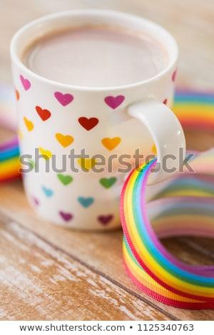 Foto stock: Copo · coração · padrão · homossexual · consciência · fita
