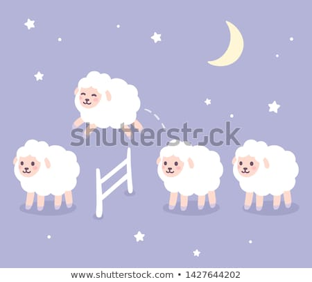 羊 · 白 · ジャンプ · フェンス · 草 · 幸せ - ストックフォト © colematt