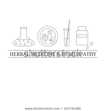 Homeopathic medicine line set on a white background. Homeopathic pills. Alternative medicine Stock photo © Imaagio