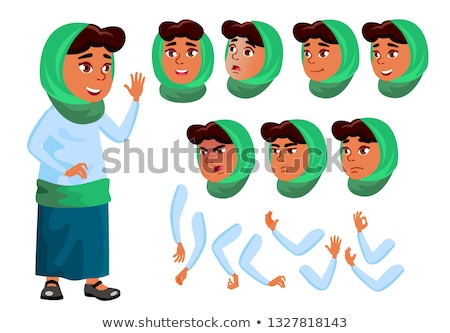 Arab, Muslim Teen Girl Poses Set Vector. Caucasian, Positive. Online Helper, Consultant. For Present Stock photo © pikepicture
