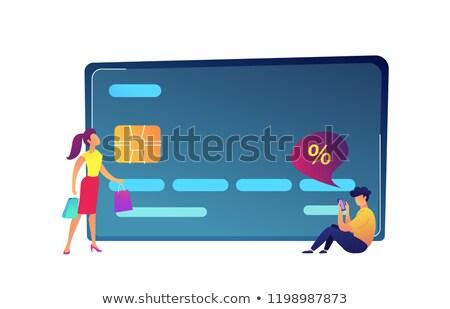 Hatalmas hitelkártya vásárló szatyrok vevő okostelefon Stock fotó © RAStudio