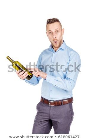 表情 ワイン ボトル 実例 顔 背景 ストックフォト © colematt