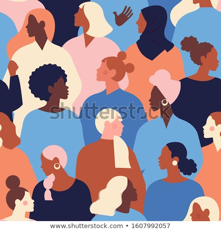 Womens Day seamless pattern of diverse woman faces Stock photo © cienpies