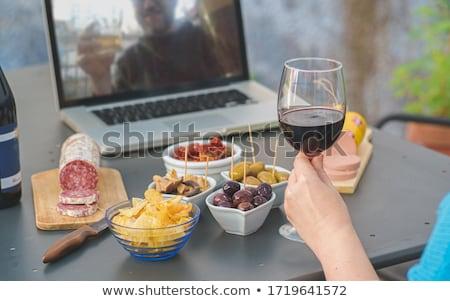 Uomo formaggio vetro vino illustrazione Foto d'archivio © colematt