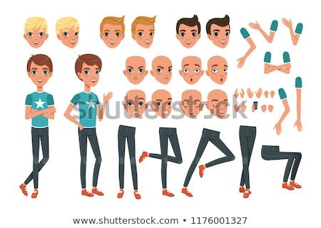 rajzolt · emberek · betűk · arcok · feketefehér · rajz · illusztráció - stock fotó © izakowski