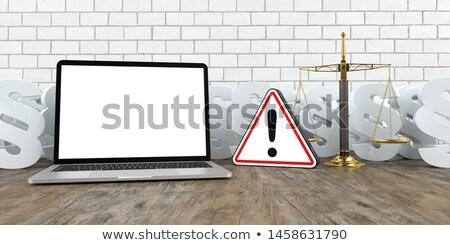 Stock fotó: Notebook · figyelmeztető · jel · fehér · nyaláb · mérleg · 3d · illusztráció