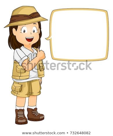 Gyerek lány felfedező szövegbuborék ok illusztráció Stock fotó © lenm