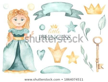 Criança menina princesa dourado bola ilustração Foto stock © lenm