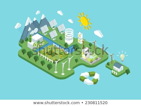 электроэнергии иконки коллаж прибыль на акцию 10 свет Сток-фото © netkov1