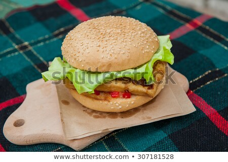 vegetarian burger with grilled soft cheese stock photo © grafvision