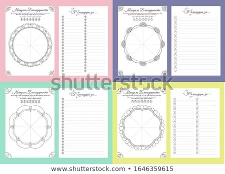 heti · tervező · sablon · terv · díszített · kézzel · rajzolt - stock fotó © olena
